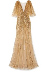 Monique Lhuillier Mesh Trimmed Sequin Embellished Tulle Gown Gold