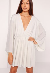 Missguided Kimono Sleeve Plunge Skater Dress Silver Grey