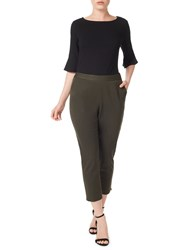 Precis Petite Twill Cropped Trousers Green