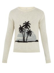 Saint Laurent Palm Tree Intarsia Crew Neck Sweater White Multi