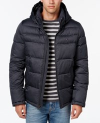 Tommy Hilfiger Men's Classic Hooded Puffer Jacket Heather Navy Black