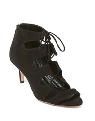 Delman Tryst Suede Lace Up Sandals Black Suede
