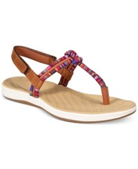 Sperry Women's Seabrook Elsie Slingback Flat Thong Sandals Women's Shoes Caribbean Stripe
