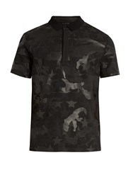 Valentino Camustars Print Cotton Pique Polo Shirt Black