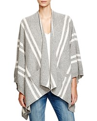 C By Bloomingdale's Poncho Style Cashmere Cardigan Light Grey Winter White