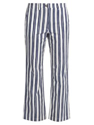 Mih Jeans Coler Striped Cropped Trousers Blue White