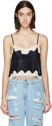 Ashish Navy Sequin And Lace Cropped Camisole