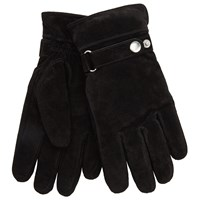 John Lewis Adjustable Strap Suede Gloves Black