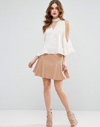 Asos Flippy Mini Skirt In Leather Look Pink