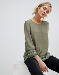 See U Soon Tunic Top With Coin Embroidery Green