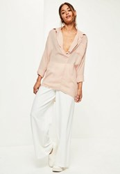 Missguided Nude Oversized Long Sleeve Plunge Shirt