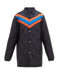 Gucci Chevron Striped Quilted Jacket Navy