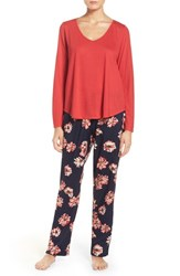 Oscar De La Renta Women's Sleepwear Knit Pajamas Navy Ground Floral Print