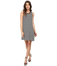 Splendid Drapey Lux Stripe Dress White Black Women's Dress