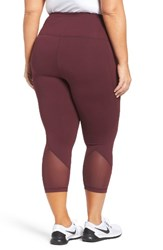Zella Plus Size Women's 'Hatha' High Waist Crop Leggings Burgundy Stem