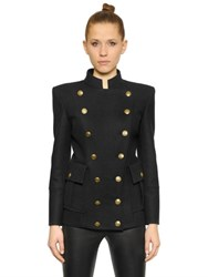 Balmain Double Breasted Stretch Wool Jacket