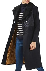 Topshop Women's Faux Shearling Collar Coat