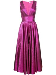 Zac Posen V Neck Flared Dress Pink And Purple