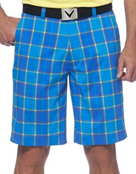 Callaway Plaid Performance Flat Front Shorts Magnetic Blue