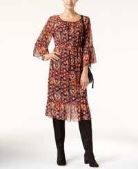 Inc International Concepts Geometric Print Peasant Dress Only At Macy's Burnt Pepper
