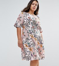 Alice And You Floral Skater Dress Pink