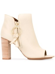 See By Chloe Open Toe Ankle Boots Nude Neutrals