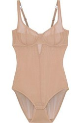 Yummie Tummie By Heather Thomson Woman Seductive Silhouette Stretch Mesh Bodysuit Sand
