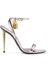 Tom Ford Padlock Metallic Leather Sandals Lilac