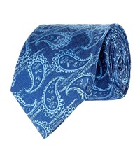 Turnbull And Asser Paisley Silk Tie Unisex Blue
