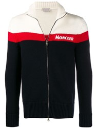Moncler Knitted Zip Up Cardigan Blue