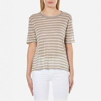 Alexander Wang T By Women's Rayon Linen Stripe Short Sleeve Cropped T Shirt Butter Taupe Multi