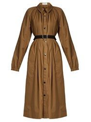 Christophe Lemaire Gathered Neck Cotton Blend Coat Brown