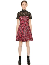 Blugirl Leopard Printed Jacquard And Lace Dress
