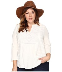 Lucky Brand Plus Size Embroidered Tee Marshmallow Women's T Shirt Blue