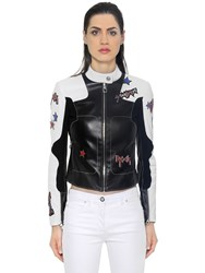 Versace Stars Patches Leather Biker Jacket