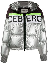 Iceberg Colour Block Puffer Jacket Silver