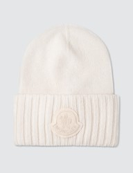 Moncler Logo Patch Beanie White