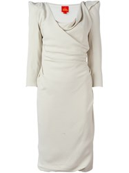 Vivienne Westwood Red Label Structured Shoulders Draped Dress Nude And Neutrals