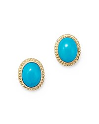 Bloomingdale's Turquoise Bezel Set Stud Earrings In 14K Yellow Gold Blue Gold