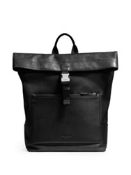 Coach Leather Foldover Backpack Black