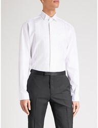 Smyth And Gibson Tailored Fit Glitter Panelled Cotton Shirt White
