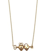 Annina Vogel 9Ct Yellow Gold And Pearl Double Heart Key Necklace