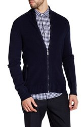 Kenneth Cole Ribbed Knit Full Zip Contrast Trim Sweater Blue