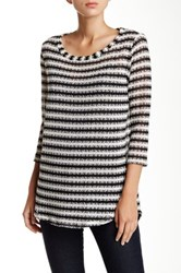 Splendid Stripe Scoop Neck Sweater White