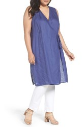 Eileen Fisher Plus Size Women's Organic Handkerchief Linen Tie Waist Tunic Blue Angel