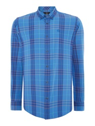 Duck And Cover Cleef Long Sleeve Check Shirt Cobalt