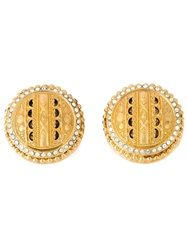 Gianfranco Ferre Vintage Crystal Embellished Earrings Metallic
