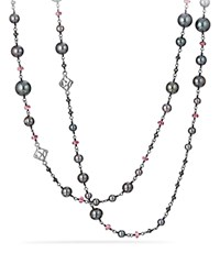 David Yurman Bijoux Bead Link Dyed Gray Cultured Freshwater Pearl Necklace With Hematine And Rhodolite Garnet Gray Pink