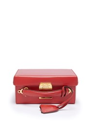 Mark Cross Grace Small Leather Box Bag Red