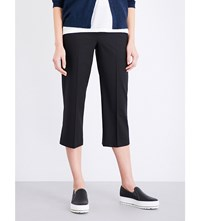 Brunello Cucinelli Square Cut Cropped Crepe Trousers Black